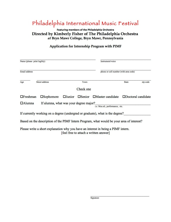 PIMF Intern application