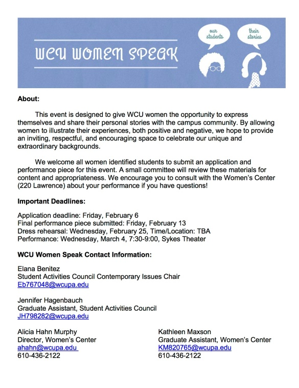 WCU Women Speaks Program